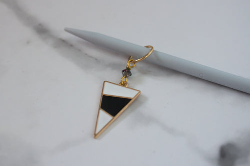 Deluxe White Mod Triangle Stitch Marker