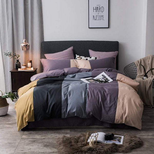 100% Cotton coffee grey purple green pink Bedding Set twin queen king size kids adults Duvet cover Bed sheets set parure de lit