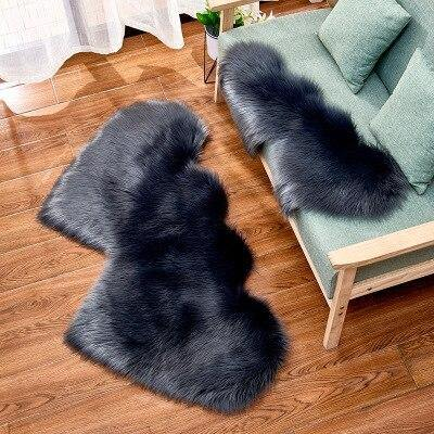 2019 New Creative Double Heart Imitation Wool Carpet Sofa Cushion Mat Plush Bedroom Living Room Floor Rug Area Rug