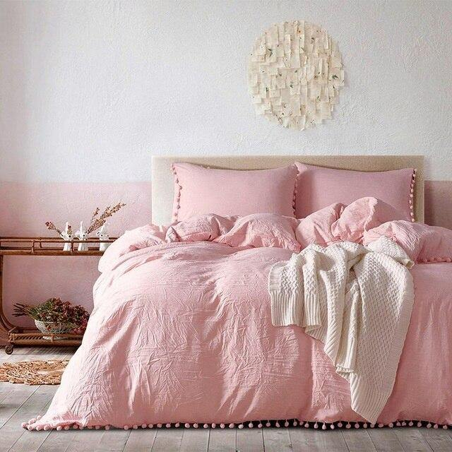 2/3pc Pink Princess Bedding Sets With Washed Ball Decorative Microfiber Fabric Queen King Duvet Cover Pillowcase Comfortable - Fansee Australia