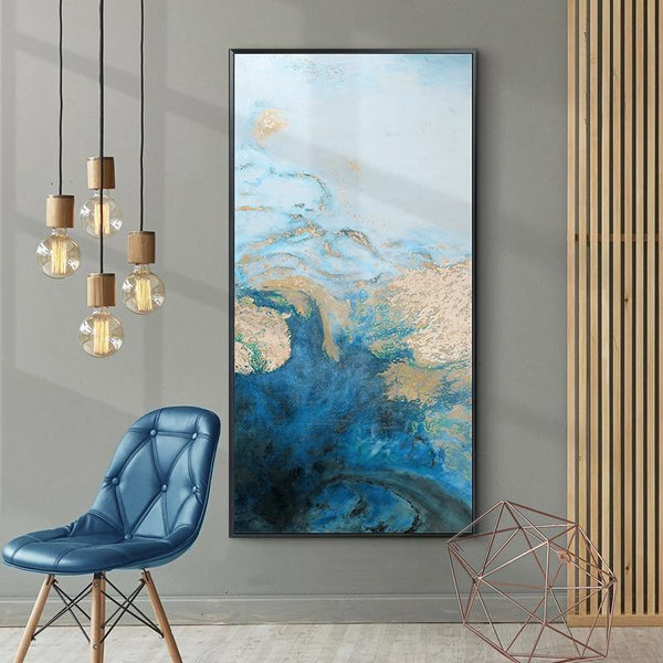 Abstract Canvas Painting Large Wall Art Blue Poster and Print Living Room Decoration Dining Room Wall Art Pictures Home Decor