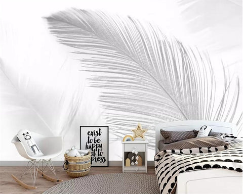 Beibehang Custom wallpaper Nordic pure white abstract blue white art feather living room bedroom TV background wall 3d wallpaper