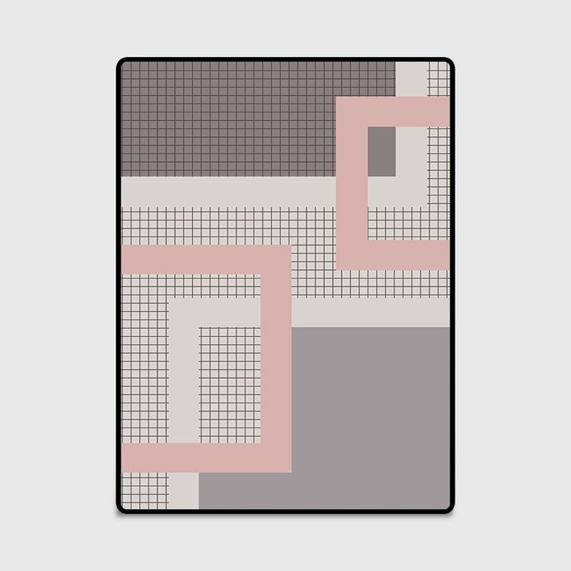 Nordic Simple Style Large Size Area Rugs Geometric Pink Grey Carpet Fo