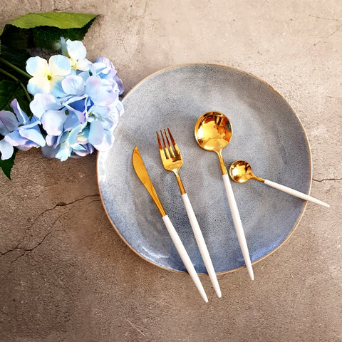 Gold and White Cutlery Set - Fansee Australia