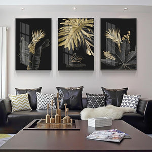 Black and Gold Botanic Wall Art Canvas Print - Fansee Australia