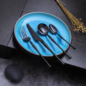 Black Cutlery Set - Black Unicorn (16 Piece Cutlery Set) - Fansee Australia