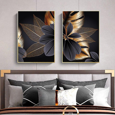 Black Golden Plant Leaf Canvas Poster Print Modern Home Decor Abstract Wall Art Painting Nordic Living Room Decoration Picture - Fansee Australia