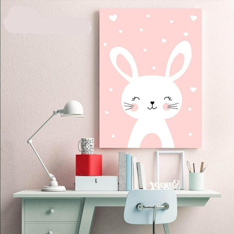 Cat & Rabbit Nursery Wall Art (Prints 50x70cm) - Fansee Australia