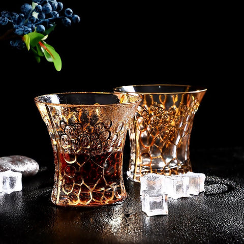 Crystal Whiskey Glasses - Queen Gold (Whiskey Tumblers & Decanter Set) - Fansee Australia