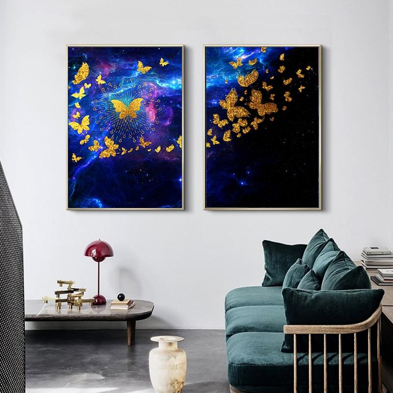 Gold Dancing Butterfly Canvas Print Online - Fansee Australia