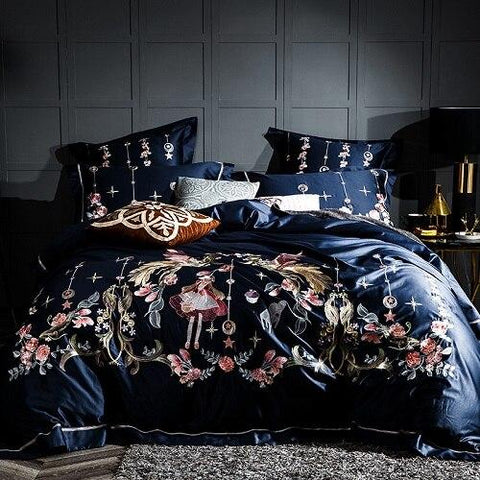 Embroidery Bed Sheet Set - BLUE - Fansee Australia