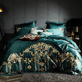 Embroidery Bed Sheet Set - GREEN - Fansee Australia