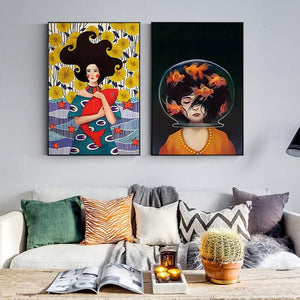 Girl and Fish Wall Art Prints - Fansee Australia