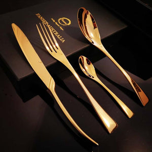 Gold Stainless Steel Cutlery Set (16 Piece Set) - Fansee Australia