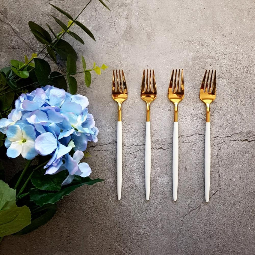 Gold & White Cutlery Set (16 Piece Cutlery Set) - Fansee Australia