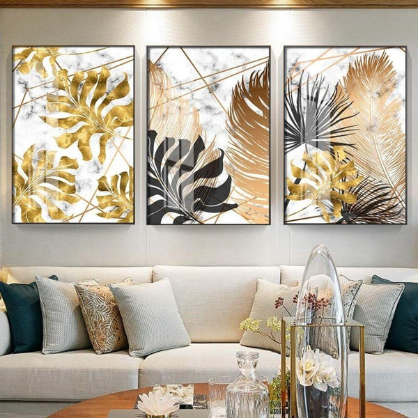 Golden and Black Leaf Wall Art (3 Pcs Set - 52x75cm) - Fansee Australia