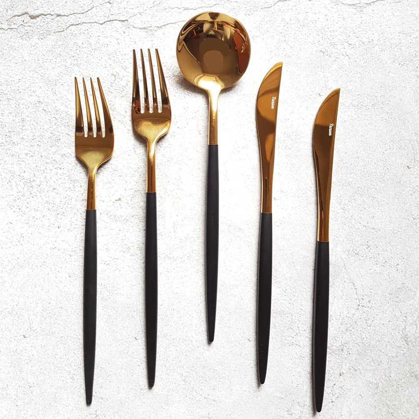 Golden & Black Cutlery Set (16 Piece Cutlery Set) - Fansee Australia