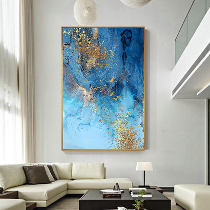 Golden Blue Sea Abstract Canvas Art (Canvas Print 60x90cm) - Fansee Australia