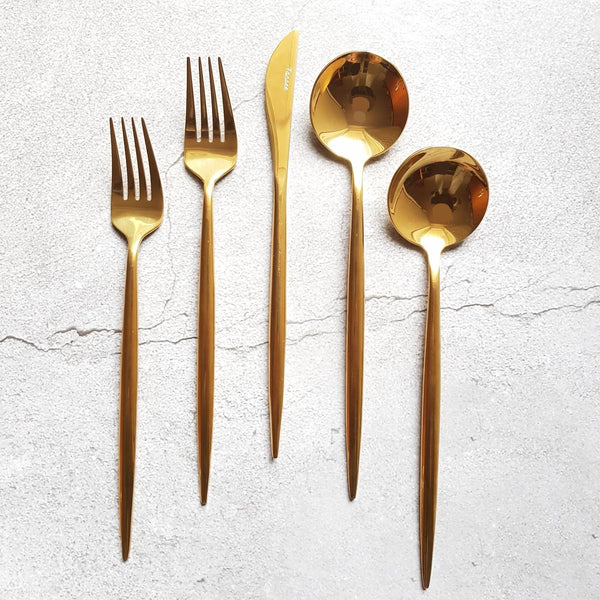 Golden Cutlery Set (16 Piece Cutlery Set) - Fansee Australia