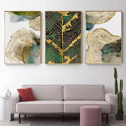 Golden Leaf Vein Abstract Wall Art (50x70cm) - Fansee Australia