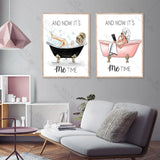 It's Me Time Poster and Prints Vogue Girl on The Bathtub Picture on The Wall for Living Room Nordic Style Home Decoration - Fansee Australia