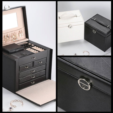 Large Jewellery Box With Lock - Black - Fansee Australia