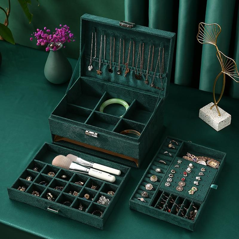 New Green 3-Layer Flannel Jewelry Organizer Box Necklaces Earrings Rings Display Holder Case for Women Large Capacity With Lock - Fansee Australia