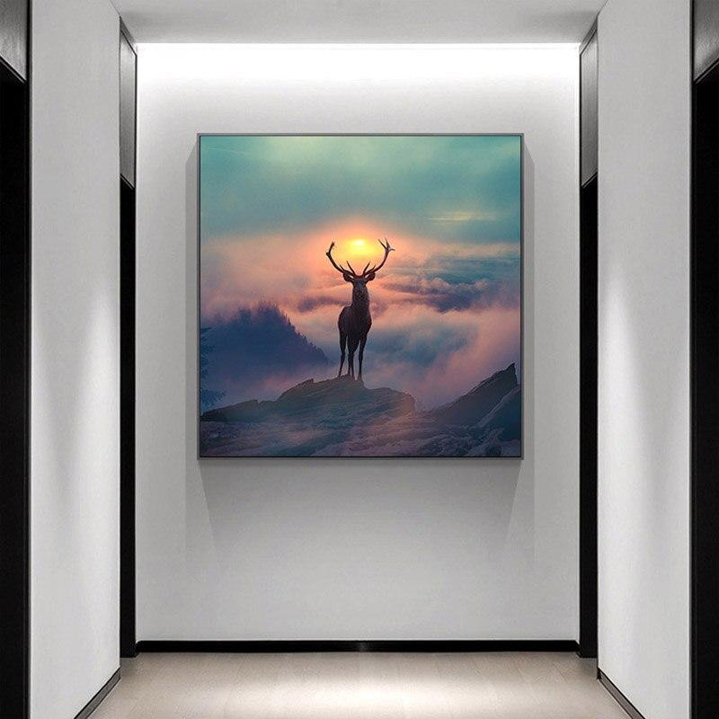 Nordic Style Forest Elf Deer Canvas Painting Animal Landscape Posters and Prints Wall Art Picture for Living Room Home Decor - Fansee Australia