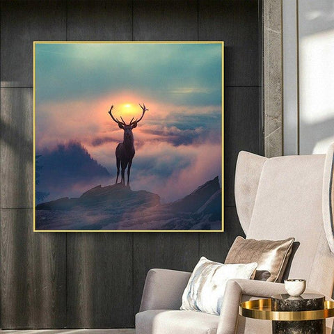 Elf Deer with Spectacular Landscape Wall Art Canvas plus DIY Frame - Fansee Australia