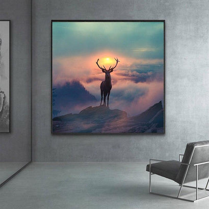 Elf Deer with Spectacular Landscape Wall Art Canvas - Fansee Australia