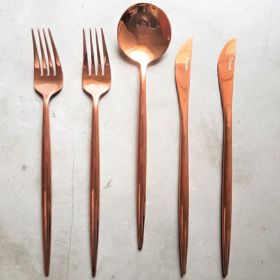 Rose Gold Cutlery Set (16 Piece Cutlery Set) - Fansee Australia