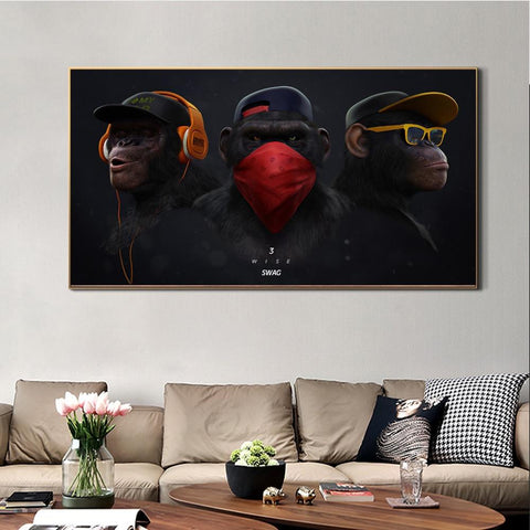 Three Monkeys Wall Art Canvas Print (60x100cm) - Fansee Australia