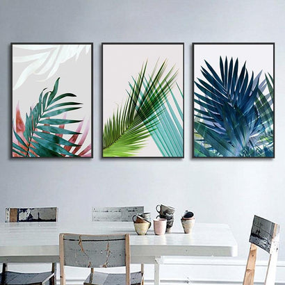Watercolor Leaves Wall Art Canvas Painting Green Style Plant Nordic Posters and Prints Decorative Picture Modern Home Decoration - Fansee Australia