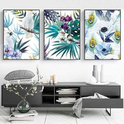 Watercolor Parrot Llant Leaves and Flowers Canvas Painting Nordic Wall Art Picture Poster Print Landscape Picture Home Decor - Fansee Australia