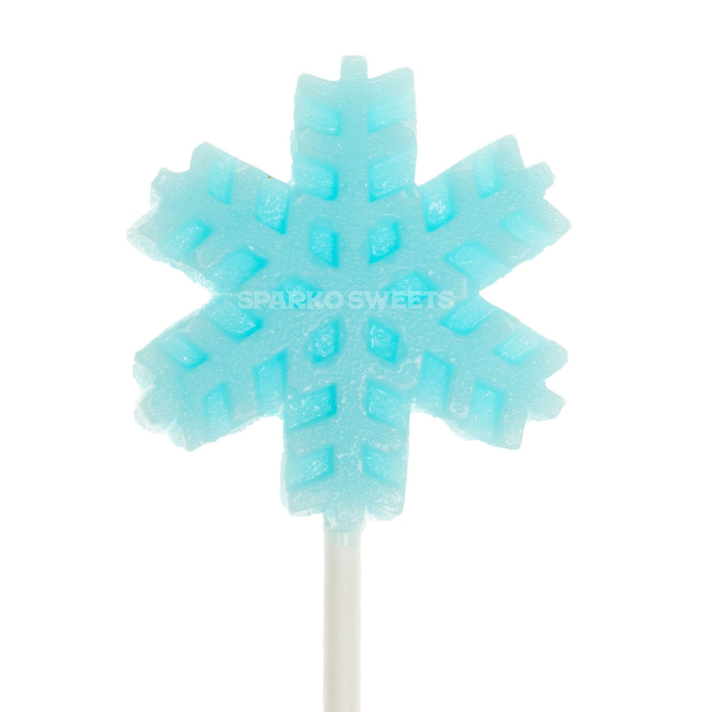 Frosty Blue Snowflakes Lollipops - Blue Raspberry Flavor (24 Pieces) - Sparko Sweets