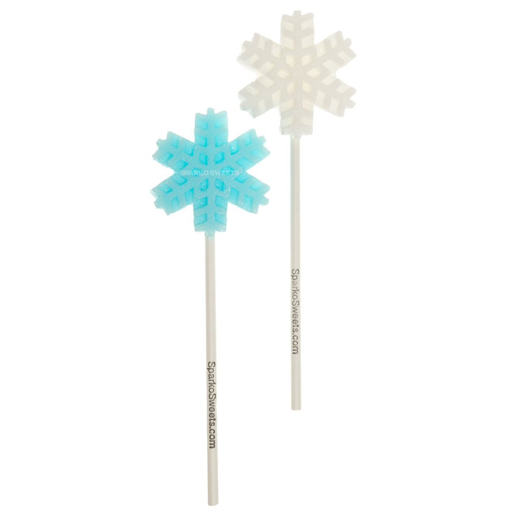 Frosty White and Blue Snowflakes Lollipops - Mix (24 Pieces) - Sparko Sweets