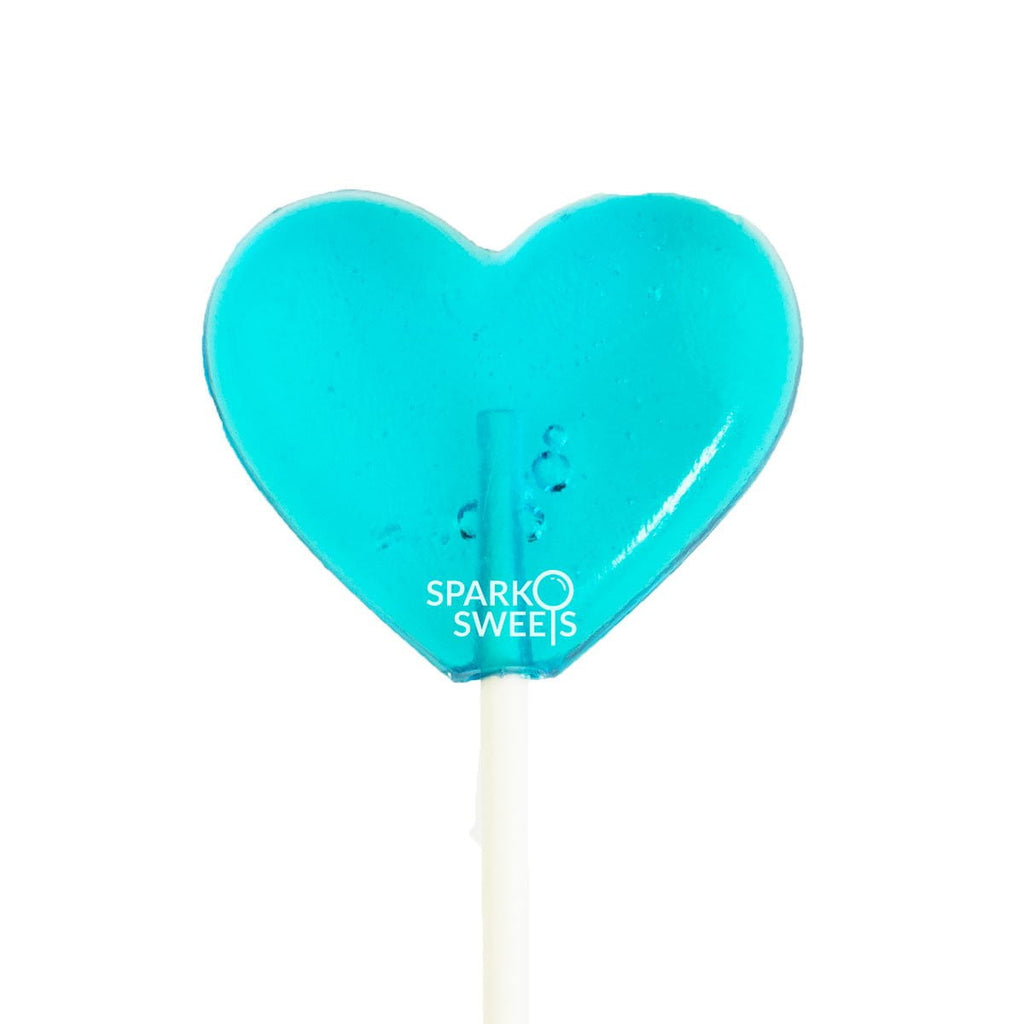 Baby Blue Heart Lollipops (24 Pieces) - Blue Raspberry - Sparko Sweets