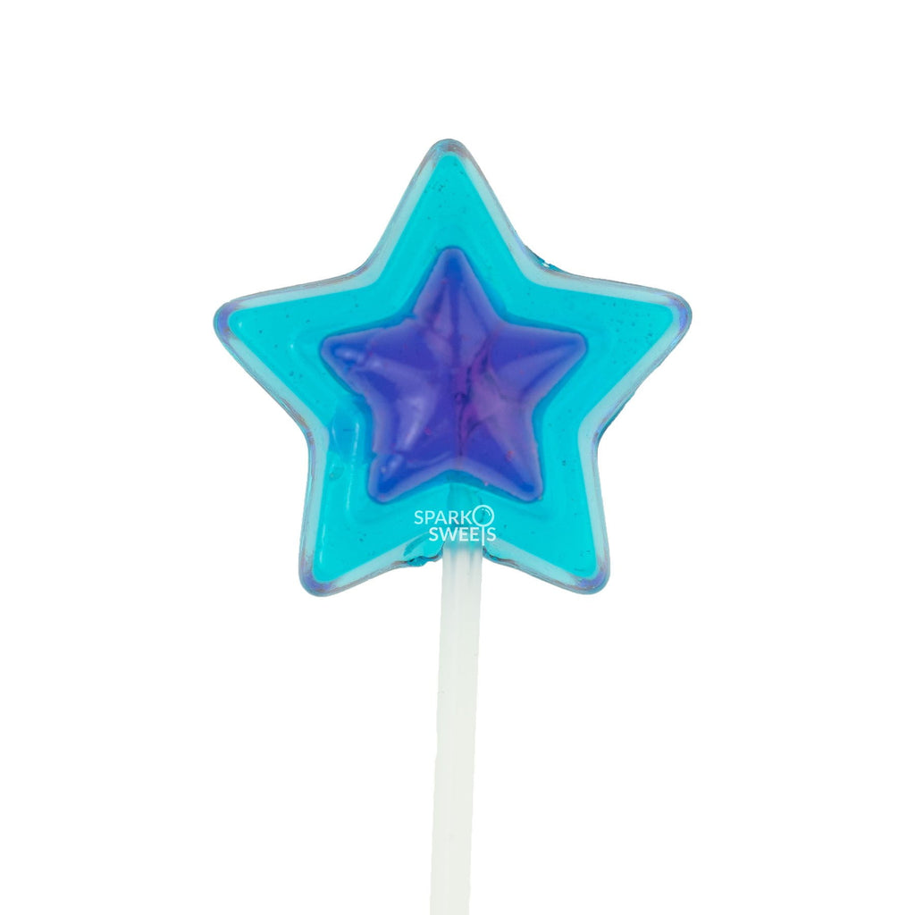 Double Color Star Lollipops Long Stem Twinkle Pops - Light Blue & Navy Blue (120 Pieces) - Sparko Sweets