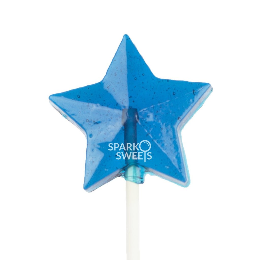 Blue Star Lollipops - Blue Raspberry (24 Pieces) - Sparko Sweets
