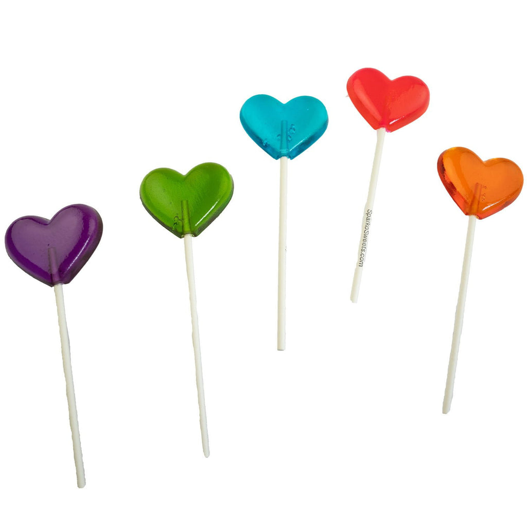 Rainbow Heart Lollipops (24 Pieces) - Mix Flavors - Sparko Sweets