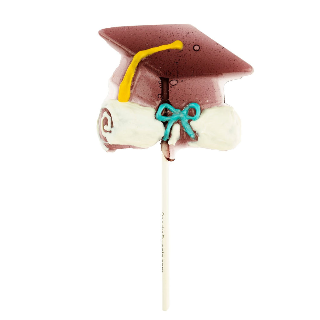 Graduation Cap Hand-Drawn Lollipops (12 Pieces) - Sparko Sweets