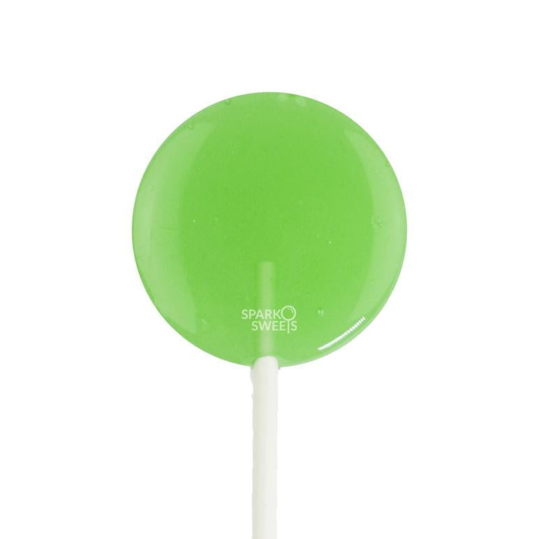 Green Apple Lollipops - Flat Round LUSH Pops (36 Pieces) - Sparko Sweets