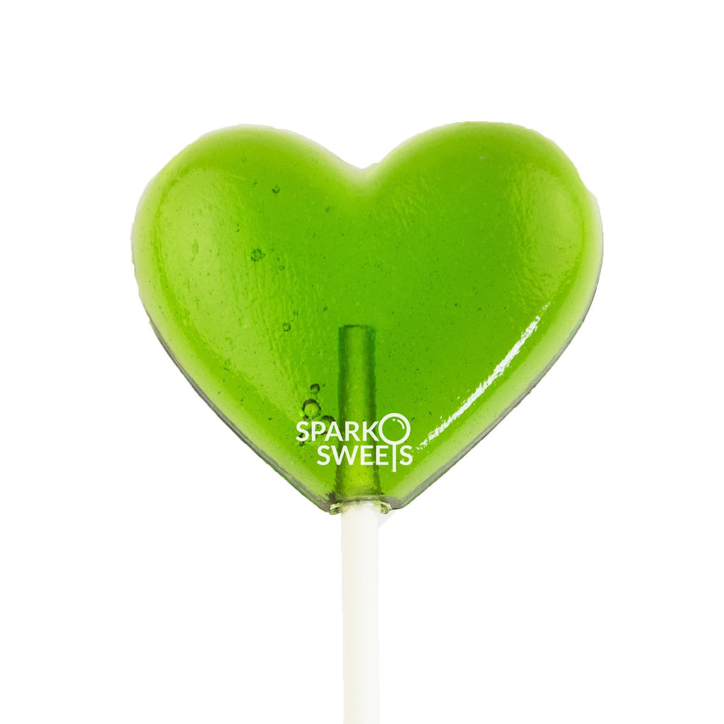 Green Heart Lollipops (24 Pieces) - Green Apple - Sparko Sweets