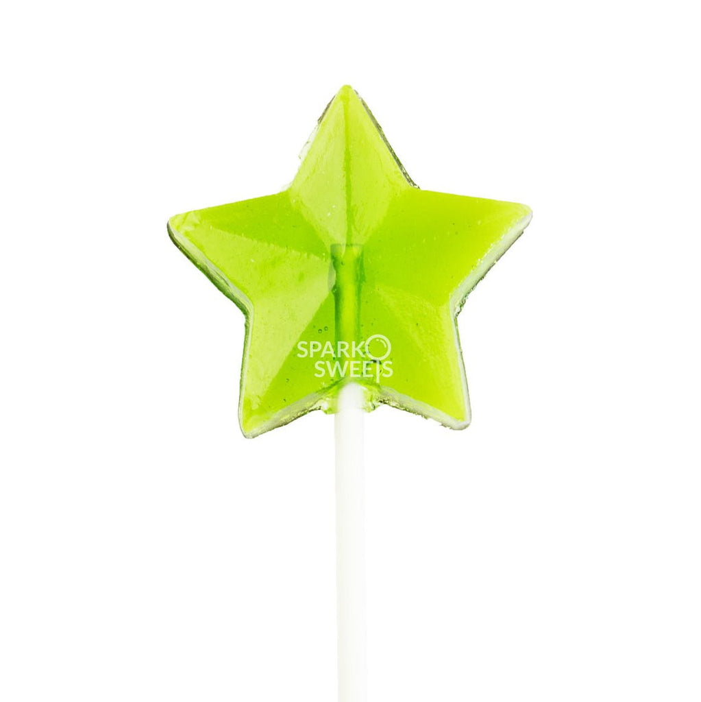 Green Star Lollipops - Green Apple (24 Pieces) - Sparko Sweets