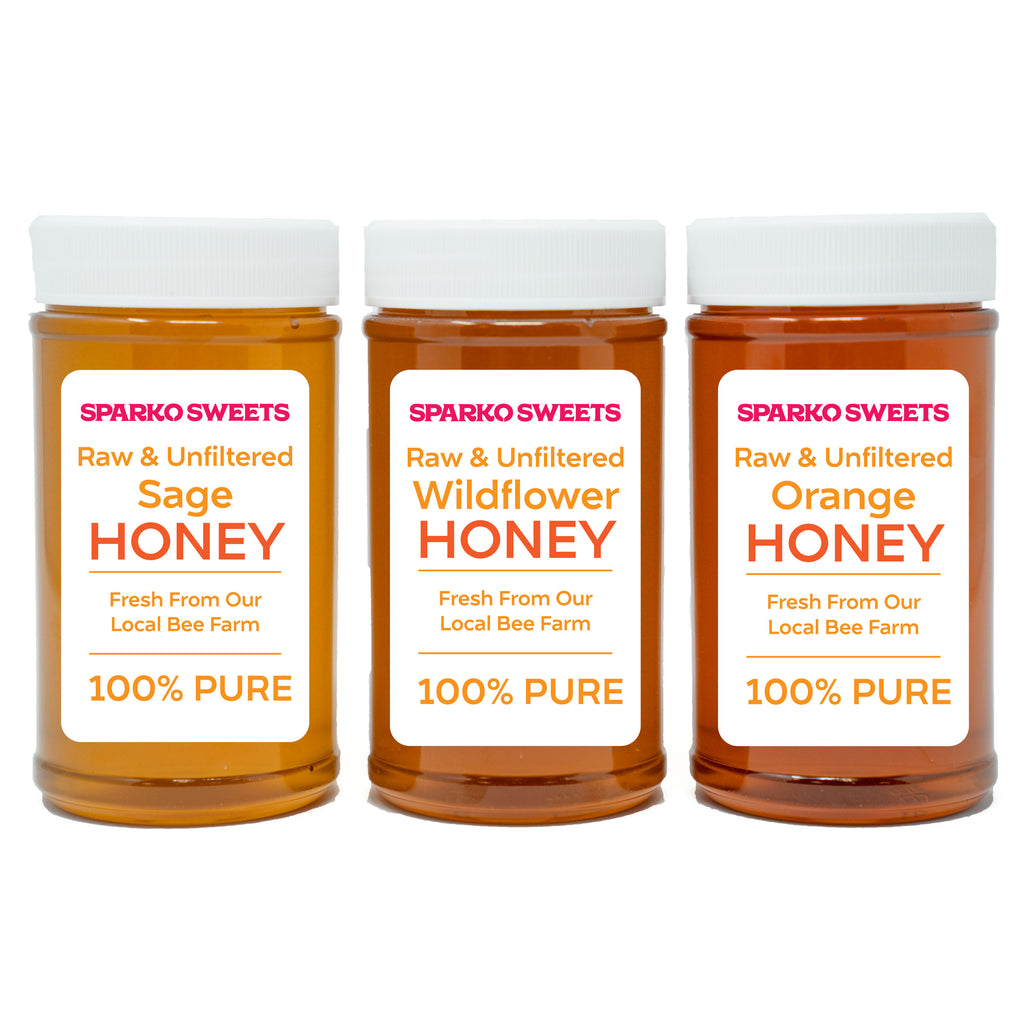 100% Pure Raw Honey - Wildflower, Orange Blossom, Sage 3 lb. - Sparko Sweets