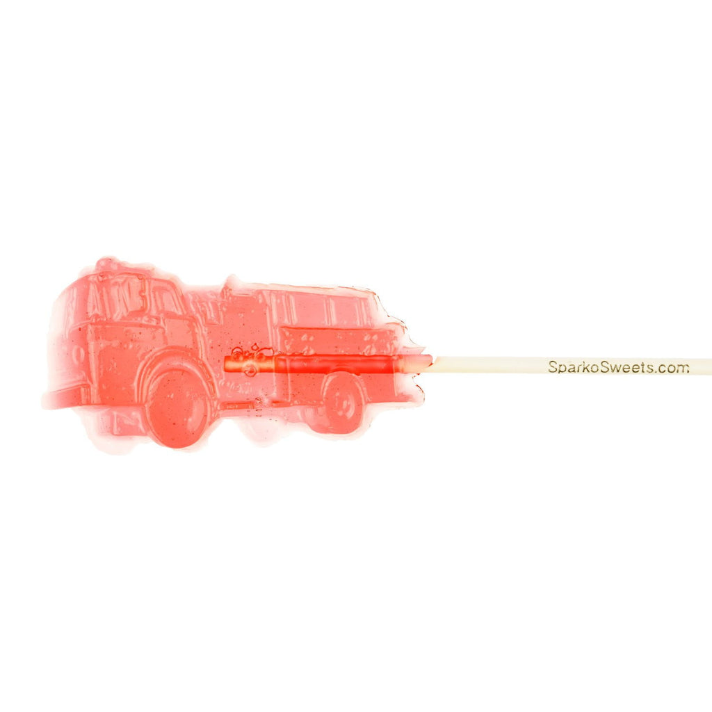 Red Firetruck Lollipops Cherry Flavor (24 Pieces) - Sparko Sweets