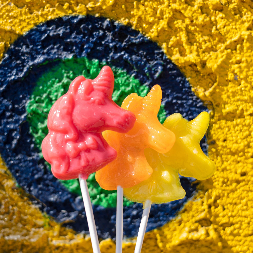 Sunny Yellow Unicorn Lollipops - Lemon (24 Pieces) - Sparko Sweets