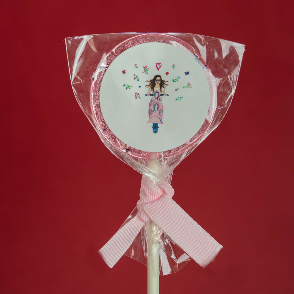 Pink Natural Rose Petals  🌹 Lollipops with Custom Labels and Ribbons (24 Pieces)