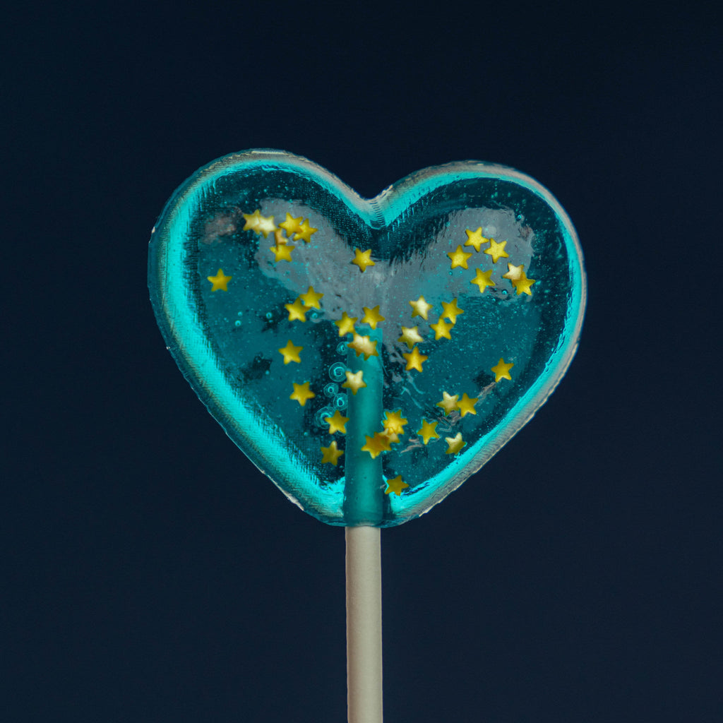Sparkly Baby Blue Heart Lollipops (24 Pieces) - Blue Raspberry - Sparko Sweets