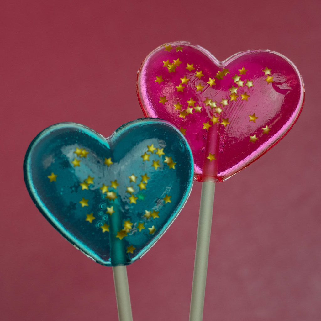 Sparkly Pink Heart Lollipops (24 Pieces) - Watermelon Flavor - Sparko Sweets